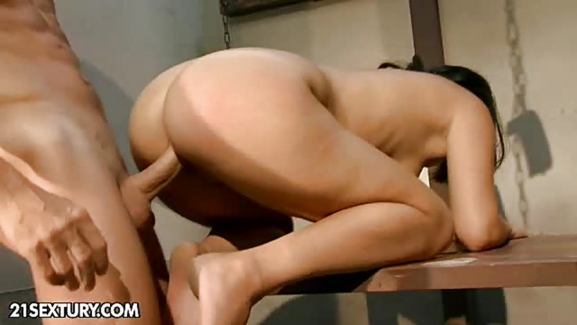 Cute brunette tortured and rammed hard