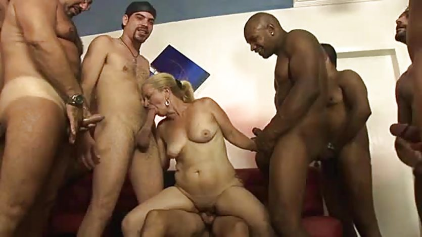 Horny granny gang fucked by lots of huge throbbing cocks