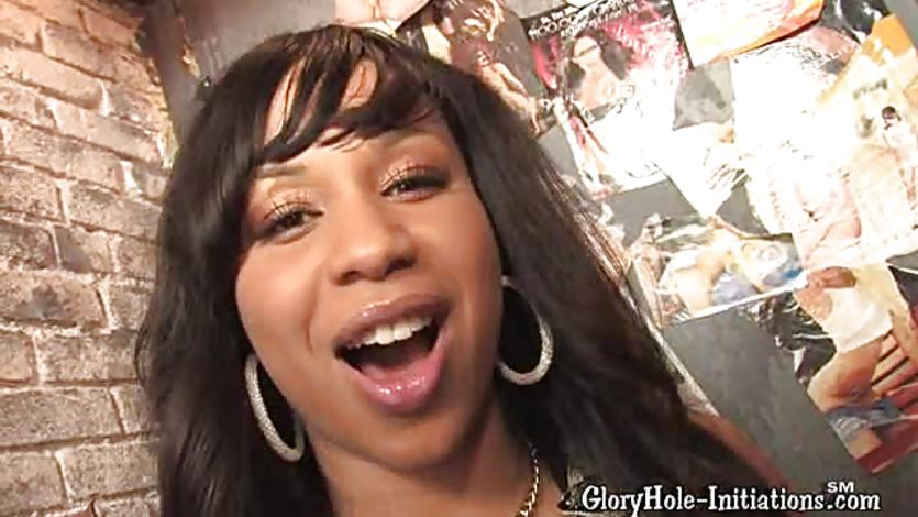 Miss tia thinks she'll just suck that white cock in the glory hole