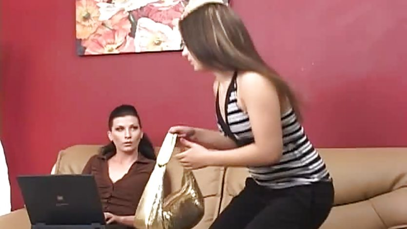 Women get hot with each other on sofa