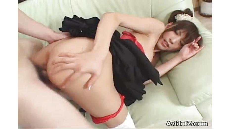 Japanese maid swallowing cum