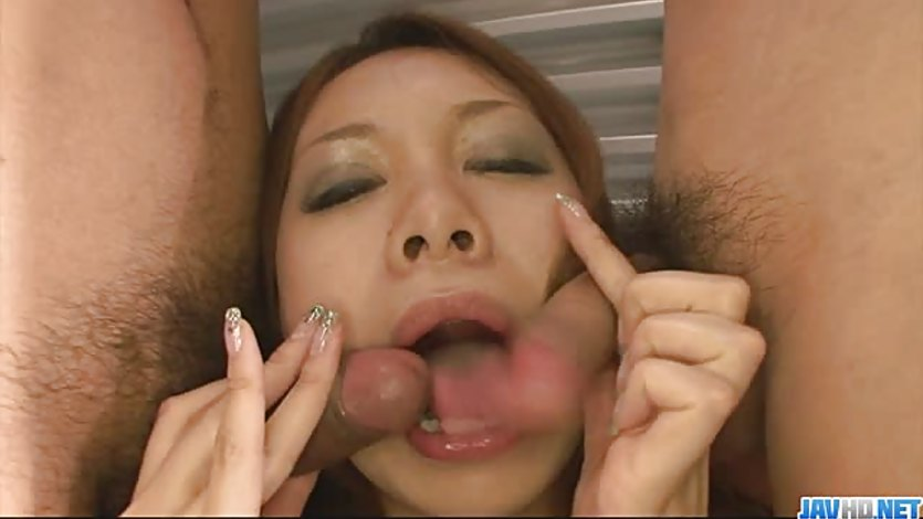Japanese hottie miharu kai sucks two cocks at once