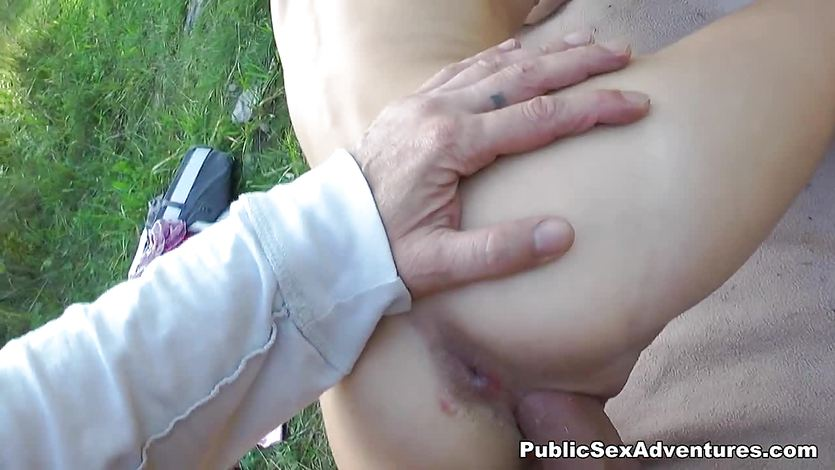 Skinny blonde fucked in the park