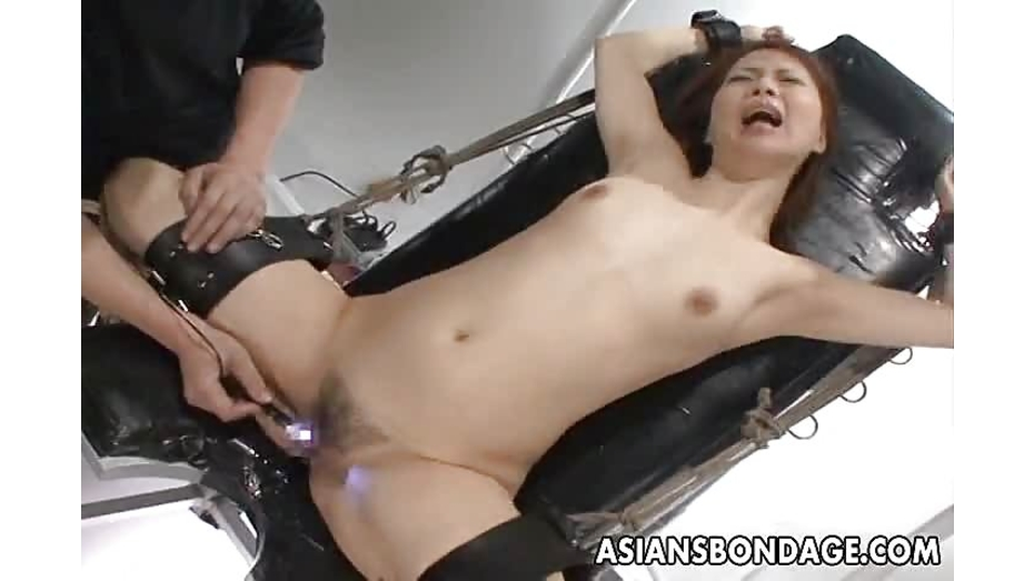 Bound asian gets toyed