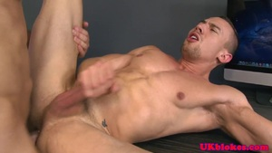 Assfucked office hunk toyed in ass