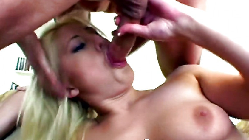 Blonde slut gets mouth and ass filled by two cocks