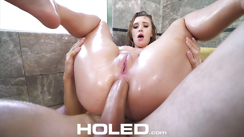 Holed huge dick shoved into tiny tight asshole