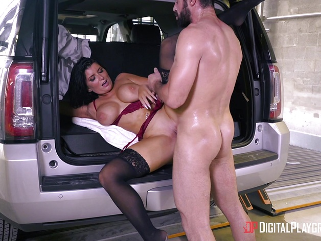 Big tits Romi Rain banged in the back of the car