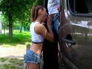 Bouncing german teen brunette gets pussy fuck
