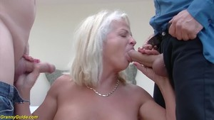 Kinky 73 years old grannies first double